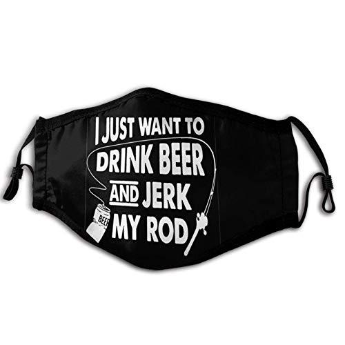 Ich möchte nur Bier Trinken und Meine Rute wichsen Erwachsene Kinder Wiederverwendbarer Gesichtsschal Bandana für Outdoor Black