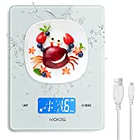 KOIOS 11lb Digital Waterproof Kitchen Scale with USB Rechargeable