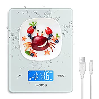 KOIOS Kitchen Scale 11lb Digital Food Scale Weight Grams and oz  USB Rechargeable  0.04oz/1g Precise Graduation for Cooking Baking 6 Weight Units Easy Clean Waterproof Tempered Glass White