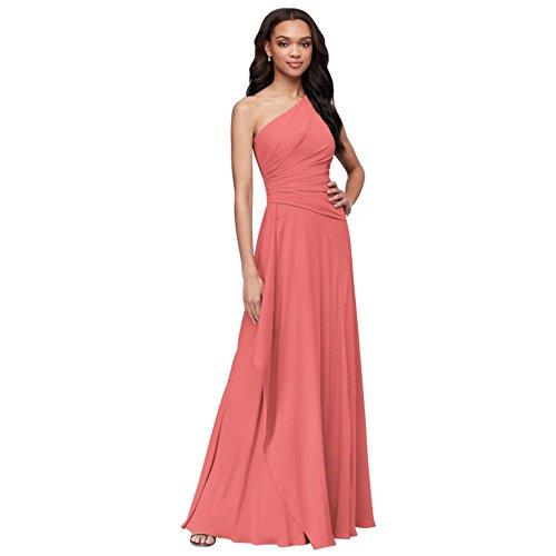 One-Shoulder Georgette Cascade Bridesmaid Dress Style F19832, Coral Reef, 8