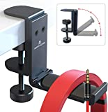 [2021] APPHOME Headphone Stand Hanger Headphone Holder, Foldable Aluminum Headset Stand Holder Under Desk with Cable Organizer Space Save Desk Clamp Table Hook Universal Fit PC Gaming Headsets