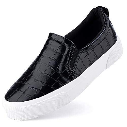 JENN ARDOR Women's Slip On Sneakers Perforated/Quilted Casual Shoes Fashion Comfortable Walking Flats Stone Black