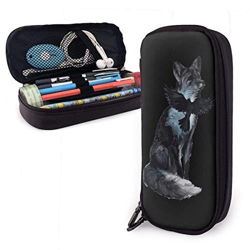 Fox Crow - Estuche de piel sintética de gran capacidad, organizador de artículos de papelería, multifunción, neceser de maquillaje, monedas, soporte perfecto para bolígrafos y bolígrafos