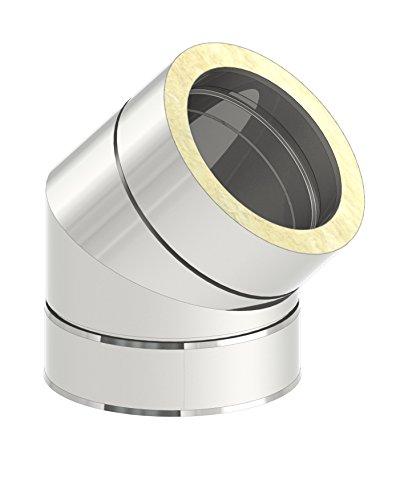 Schornstein - Winkel DW doppelwandig 45° starr, Innendurchmesser 130mm; Innen/Außen je 0,5 mm Wandstärke, Edelstahl