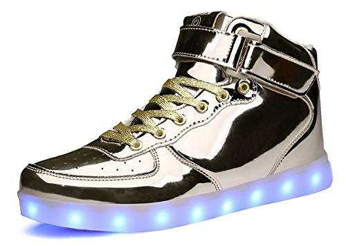 MOHEM ShinyNight High Top LED Shoes Light Up USB Charging Flashing Sneakers(1687003ShiningGold30)