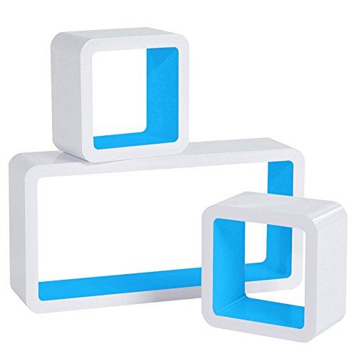WOLTU RG9229bl Wandregal Cube Regal 3er Set Würfelregal Hängeregal, weiß-blau