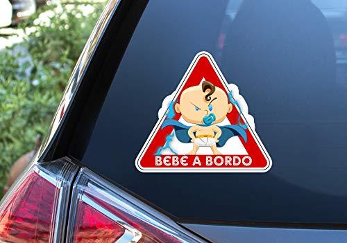 Pegatina Vinilo Super Bebe a Bordo, Super Baby on Board (15cm x 17cm, Niño)