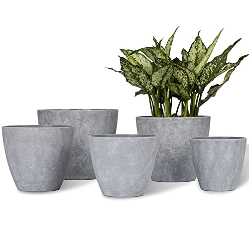 Large Plastic Planters Plant Pots – Nordic Industry Style Indoor Heavy Duty Decorative Imitation Cement Pattern Garden Flower Pots with Drainage Hole, Set of 5