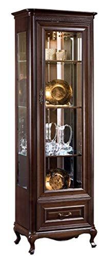Casa Padrino Jugendstil Vitrinenschrank Dunkelbraun 66,2 x 46,1 x H. 206,6 cm - Beleuchteter Wohnzimmerschrank mit Glastür und Schublade - Wohnzimmermöbel
