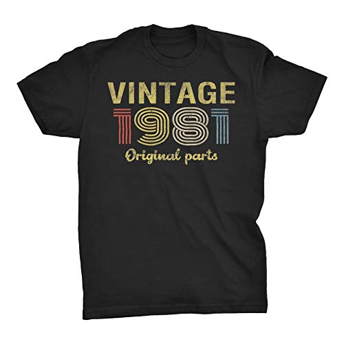 ShirtInvaders 40th Birthday Shirt for Men - Retro Birthday - 1981 Original Parts - 001-F/Black-XL