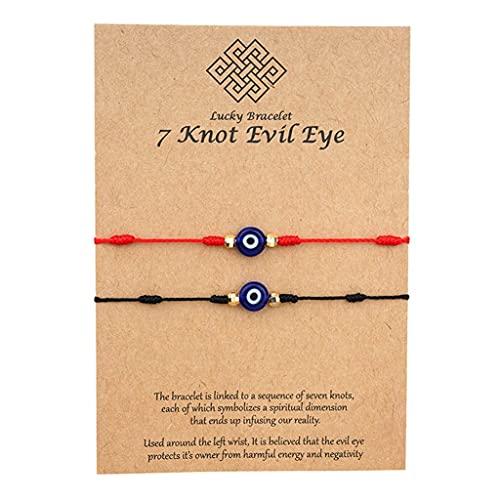 Branets 2 piezas Pulsera Mal de Ojo - Pulsera de protección de la suerte con 7 Nudos Contra el Mal de ojo para mujeres y niñas