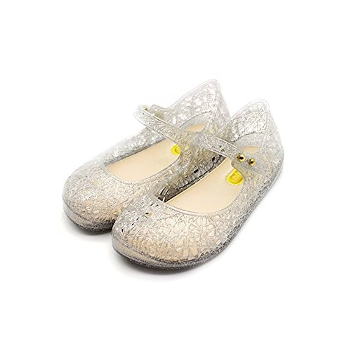 TANDEFLY Baby Girls Mary Jane Flat Jelly Shoes Glitter Nest Lines Kid's Sandals