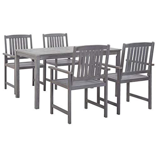 Festnight 5-delige Tuinset massief acaciahout Eettafel en stoel salontafel voor eetkamer woonkamer keuken grijs