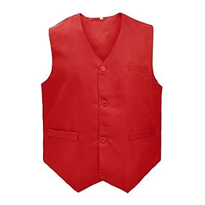 TOPTIE Waiter Uniform Unisex Button Vest for Supermarket Clerk & Volunteer-Red-US Size XL by TOPTIE