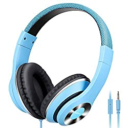 in budget affordable AUSDOM light, wired HiFi stereo headphones, comfortable leather with built-in microphone …