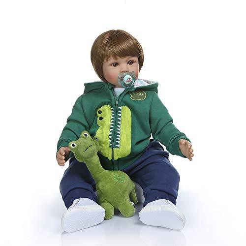 Anano Reborn Toddler Doll Boy Realistic Silicone Boy Baby Doll Handmade 24 Inch Reborn Dolls Boy with Green Autumn Clothes, Dinosaur Toy