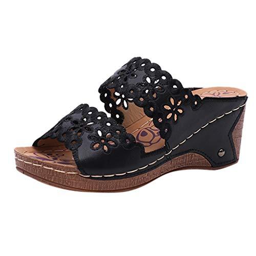 Damen Sandalen Hohl geschnitzt Slingback Wedge Peep Toe Slip On Bequeme Beach Strandsandale Sommer Outdoor Sandals(1-Schwarz/Black,40)