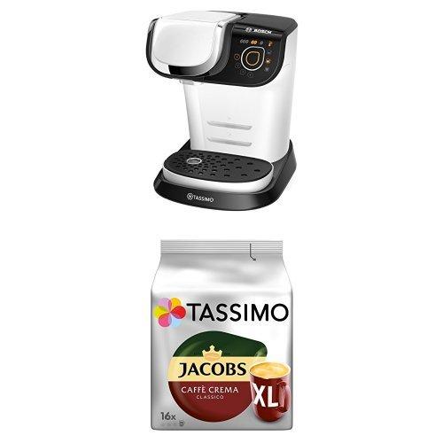 Bosch TAS6004 Multigetränkeautomat Tassimo My Way + Tassimo Jacobs Caffè Crema Classico XL, 5er Pack Kaffee T Discs