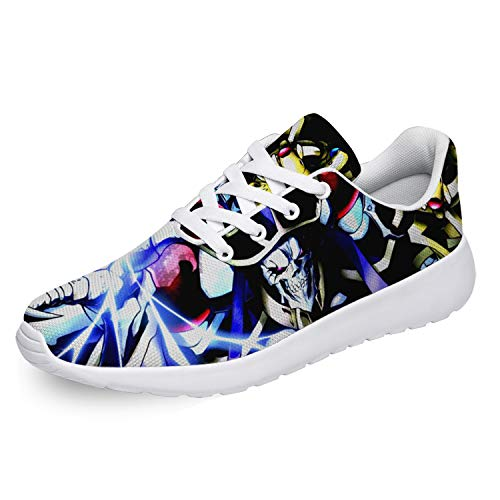 Uminder Overlord Shoes Mens 3D Print Lace-up Lightweight Mesh Causal Anime Cosplay Running Sneaker Gifts for Friends,White,Men 4