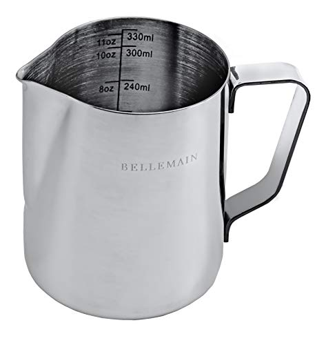 Stainless Steel Frothing Pitcher, Measuring Cup, and Serving Jug by Bellemain—Ideal for Cappuccinos and Latte Art, 12 oz./350 ml