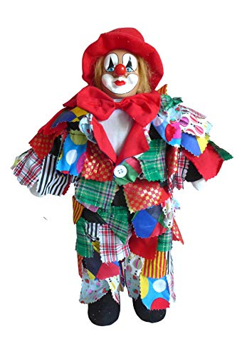 N / A Bunter Lappenclown Hut rot 47 cm Clown Clownfigur Karneval Stoffclown Karnevalsdeko