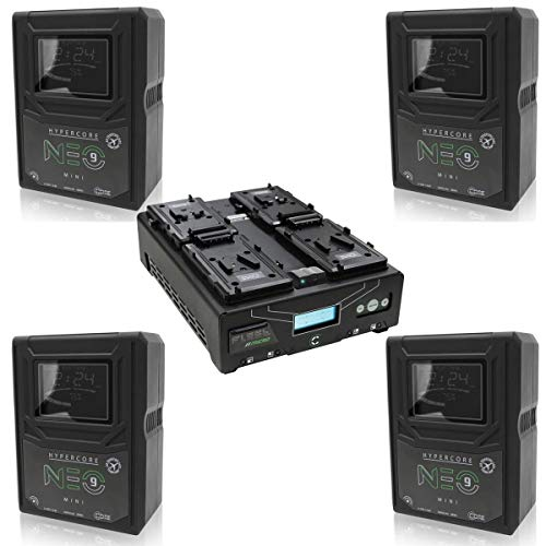 Core SWX 4 Pack Hypercore NEO 9 Mini 98Wh 14.8V 6.6Ah V-Mount Lithium-Ion Battery Fleet Micro Four-Position Simultaneous V-Mount Battery Fast Charger