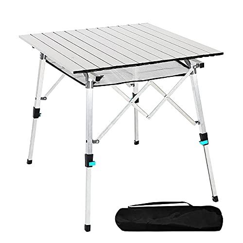 Mesa de camping plegable con tablero de aluminio, ligera, plegable, portátil, con bolsa de transporte, 70 x 70 cm, mesa plegable portátil para exteriores, mesa plegable (plateada)
