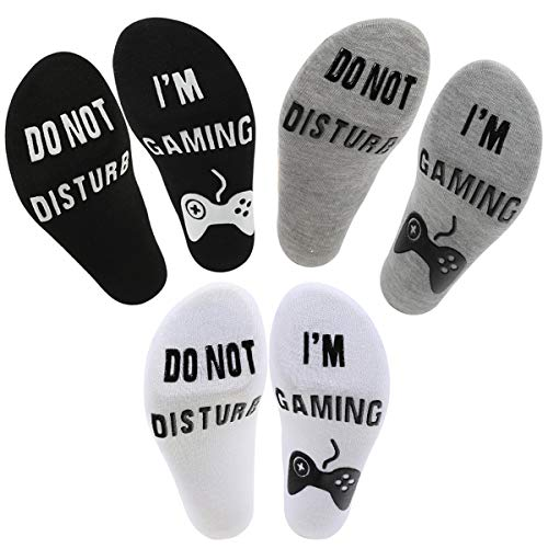 3 Pairs Do Not Disturb I'm Gaming Socks - YHZFS Mens Funny Dress Sock for Gamer Teen Young Boy...