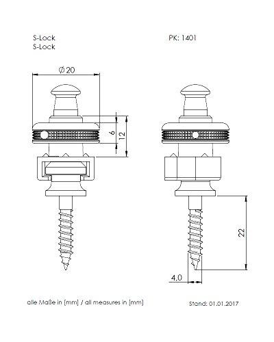 SchallerシャーラーストラップロックピンS-Locksクローム#14010201/Chromeペア【国内正規品】