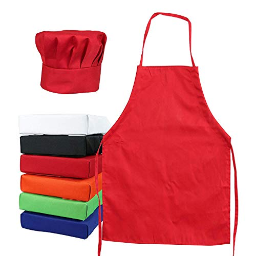 Tessa's Kitchen Kids - Child's Chef Hat Apron Set, Kid's Size, Children's Kitchen Cooking and Baking Wear Kit for Those Chefs in Training (M 6-12 Year, Red)