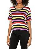 Skechers Encounter Stripe Short Sleeve tee Camisa, Rayas Multicolor, XL para Mujer