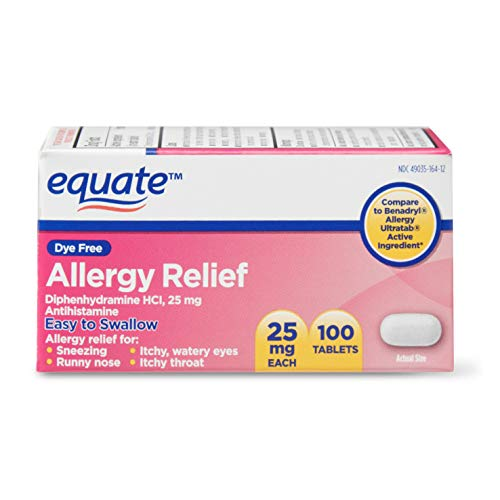 Equate Dye Free Allergy Relief Tablets, Diphenhydramine HCI, 25 mg, 100 Count