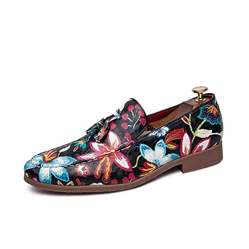 CAIFENG Oxford Zapatos for Hombres Zapatos Formales Slip on Style PU Cuero Classic Borla de la tasel Impresionante Top Top (Color : Red, Size : 45 EU)