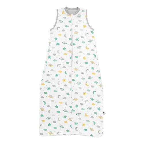 Schlummersack Kinderschlafsack für den Sommer ungefüttert in 0.5 Tog - Moon & Stars - 3-6 Jahre / 130 cm