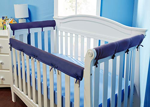 Everyday Kids Padded Baby Crib Rail Cover Set- Crib Rail Teething Guard - 3-Piece Front and Side Padded Rail Cover- with Sewn Ties for Secure Fit - Navy Soft Microfiber Polyester …