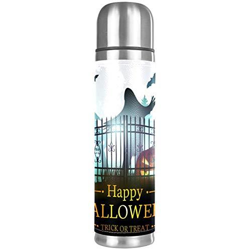 TIZORAX Scarry Halloween cementerio espeluznante bajo niebla luna llena doble pared vacío taza de acero inoxidable aislado botella de agua de viaje taza termo taza de café 17 oz