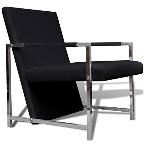 vidaXL - Sillón Moderno con Forma de Cubo, Color Negro y Cromado