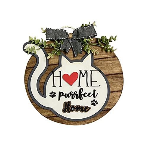 Cartel de bienvenida - Número de casa de placa de casa de madera de dibujos animados hecho a mano creativo DIY, para reemplazar el cartel de temporada Festival Tablero colgante Puerta decorati