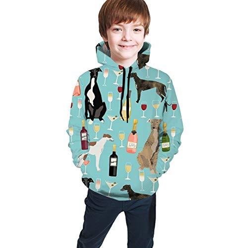 Sudadera con capucha para niños, diseño de galgos y vino, para otoño e invierno, para adolescente, con capucha