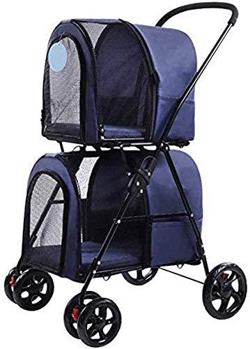 MTCWD Pet Travel Stroller Double Layer Pet Stroller Portable Jogging Travel Carrier Cage Foldable 3 in 1 Pram Stroller (Color : Blue)