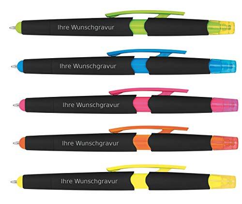 5 Touchpen Kugelschreiber mit Gravur / mit Textmarker / 5 verschiedene Farben