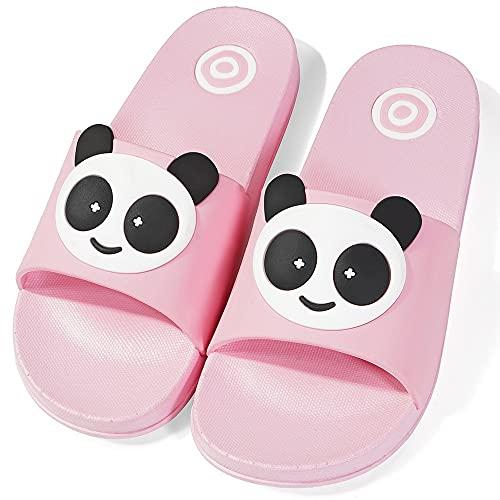 Badelatschen Kinder Badeschuhe Jungen Badelatschen Mädchen rutschfeste Badeschlappen Weich Pantoletten Hausschuhe Sommer Strand Sandale Slipper EU32-33=Etikettengröße:33-34 D-Pink