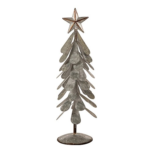 Glitzhome Iron Galvanized Christmas Tree Table Décor, 18' H