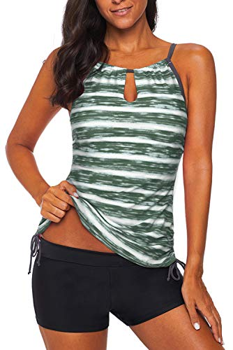 REKITA Womens Stripe Printed Tankini Top with Boyshort Swimsuits Bathing Suits (XL, Blackish Green)