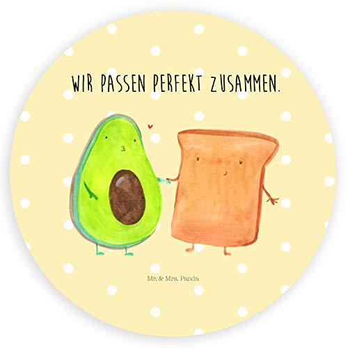 Mr. & Mrs. Panda Etikett, Aufkleber, 40mm Rund Aufkleber Avocado + Toast mit Spruch - Farbe Gelb Pastell