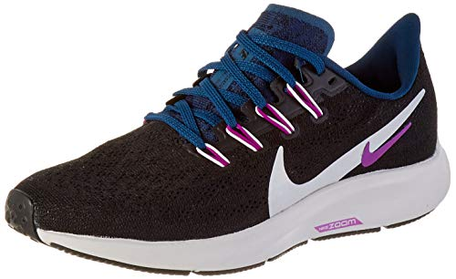 Nike Wmns Air Zoom Pegasus 36, Scarpe da Corsa Donna, Multicolore (Black/Summit White/Valerian Blue/Vivid Purple), 37.5