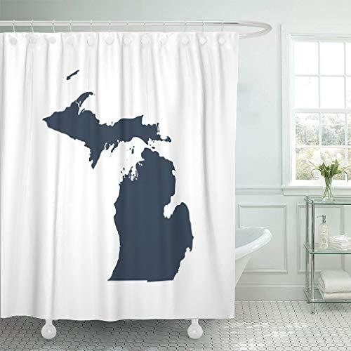 PAUSEBOLL Duschvorhang mit grauer Umrisse, Landkarte des USA-Staates Michigan, abstrakter Duschvorhang, Badezimmer mit Haken, wasserdichter Polyester-Vorhang