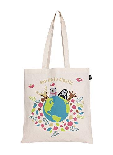 EONO tote bag tela Eco-Friendly bolsa de algodon bolso de tela mujer de ultramarinos de bolso de reutilizable linda bolsas para niñas - Impreso Diga no al plástico - (Natural) | 0101G01