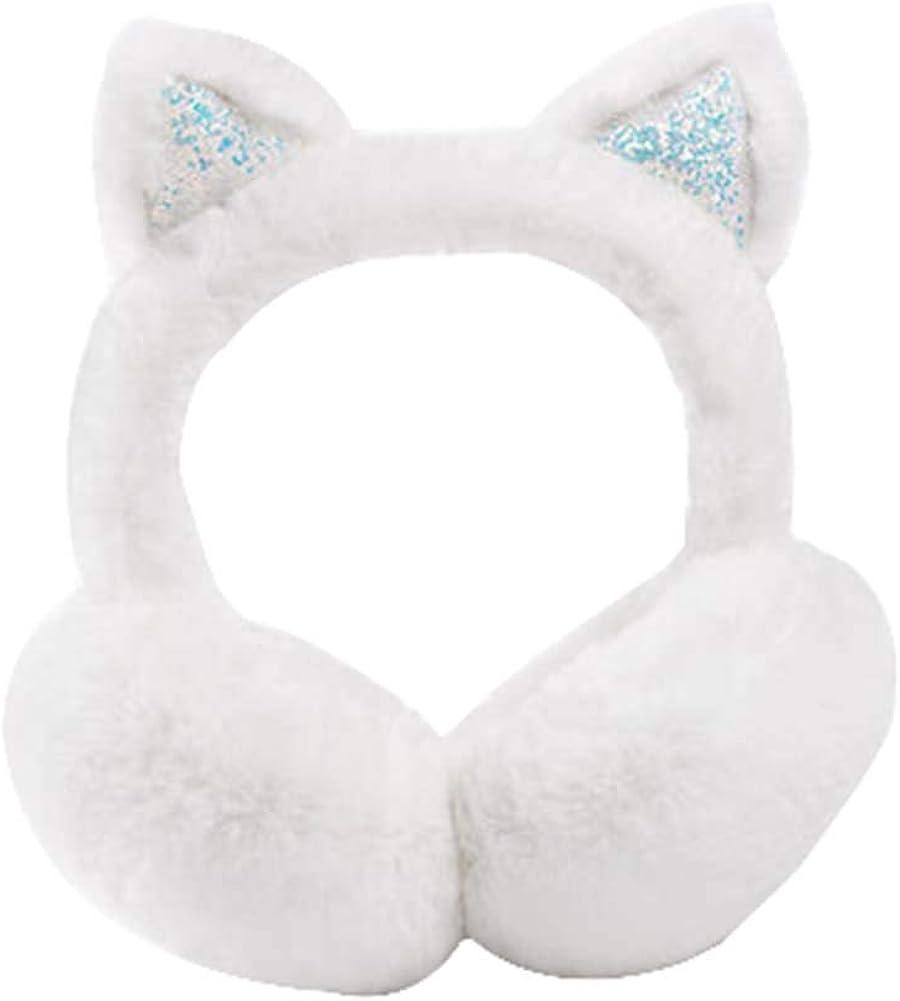 Black Temptation Lovely Earmuffs Plush Earmuff Winter Ear Cover, White