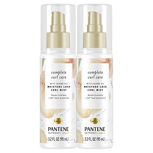 Pantene Complete Curl Care Mist, with Jojoba Oil for Curly Hair, Nutrient Blends Moisture Lock Curl Mist, Sulfate Free, 3.2 Fl Ounce Twin Pack